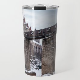 Fairytale Castle in the Snow Travel Mug