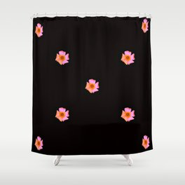 Pink Pansies on Black by Aloha Kea Photography Shower Curtain