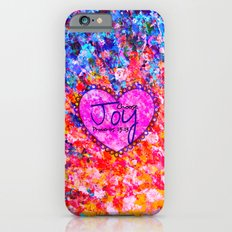 CHOOSE JOY Christian Art Abstract Painting Typography Happy Colorful Splash Heart Proverbs Scripture iPhone 6 Slim Case