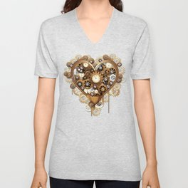 Steampunk Heart Love Unisex V-Neck