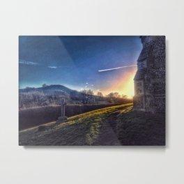 Churchyard Sunset Metal Print