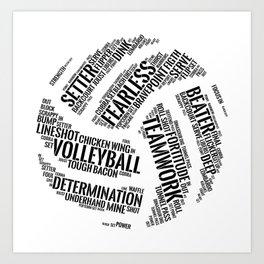 Black Volleyball Wordcloud - Gift Art Print
