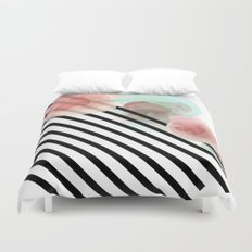 Watercolor Floral with Stripes Duvet Cover