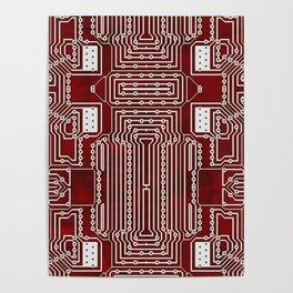 Red Geek Motherboard Circuit Pattern Poster