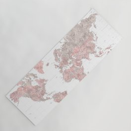 """Highly detailed world map in dusty pink and grey watercolor, """"Piper"""" Yoga Mat"""