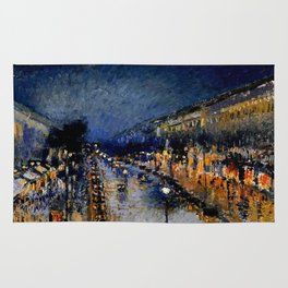 The Boulevard Montmartre At Night : Camille Pissarro Rug