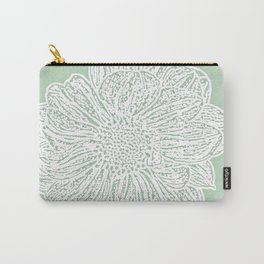 Single White Dahlia Lino Cut, Soft Sage Green Carry-All Pouch