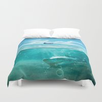 kpop Duvet Covers featuring Blue by SensualPatterns