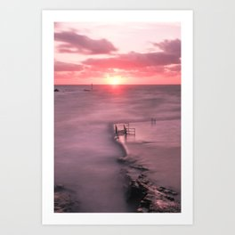 The Sea Pool Sunset, Bude, Cornwall, England, United Kingdom Art Print