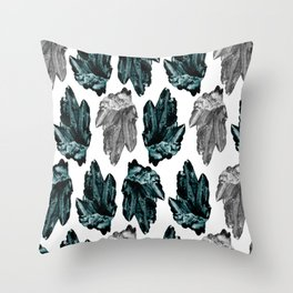 turquoise and grey crystal pattern Throw Pillow