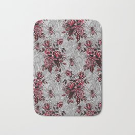Vintage Roses and Spiders on Lace Halloweeen Watercolor Bath Mat
