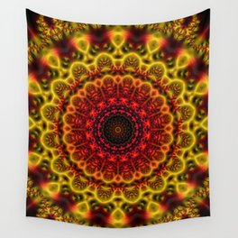 Fiery Fractal Mandala Wall Tapestry