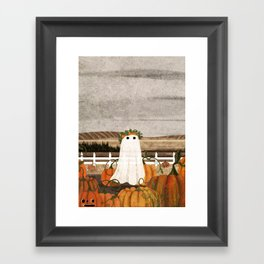 There's a Ghost in the Pumpkins Patch Again... Framed Art Print