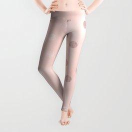 Rose Gold Pastel Pink Polka Dots Leggings