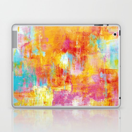 OFF THE GRID Colorful Pastel Neon Abstract Watercolor Acrylic Textural Art Painting Nature Rainbow  Laptop & iPad Skin