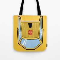transformers Tote Bags featuring Transformers - Sunstreaker by CaptainLaserBeam