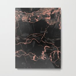 Black Marble and Rose Gold Metal Print