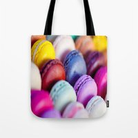 macaroons Tote Bags featuring Macaroons by rosita