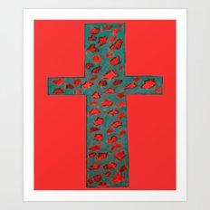 Coral & Teal Leopard Print Cross Art Print
