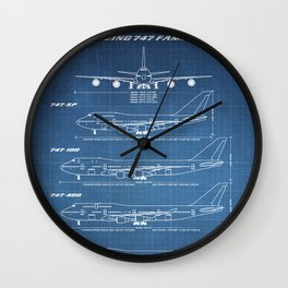 Boeing 747 Family Blueprint in High Resolution (light blue) Wall Clock