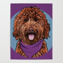 Icons of the Dog Park: Labradoodle Design in Bold Colors for Pet Lovers Poster