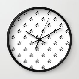 Black and White OM Pattern Wall Clock