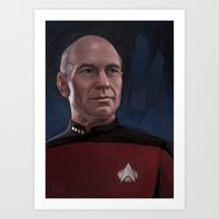 picard Art Prints featuring Captain Picard by RileyStark