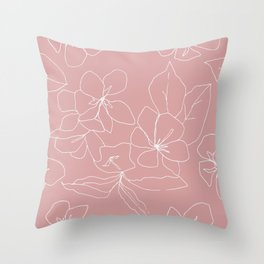 Floral Drawing on Pale Pink, Stonecrop Garden Series Throw Pillow