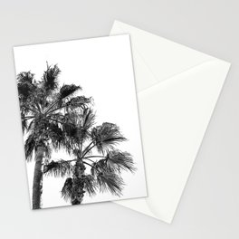 B&W Palm Tree Print | Black and White Summer Sky Beach Surfing Photography Art Stationery Cards