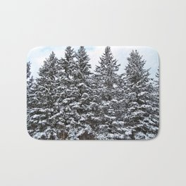 Evergreens Dusted in Snow Bath Mat