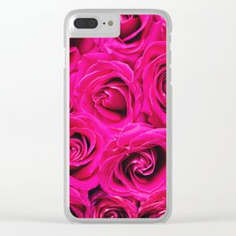 Romantic Pink Purple Roses Pattern Clear iPhone Case