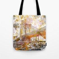 brooklyn bridge Tote Bags featuring Brooklyn Bridge by LebensART