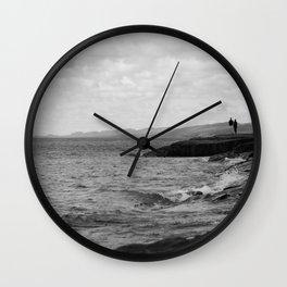 Foggy Harbor North Shore 9 BW Wall Clock