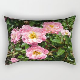 White and Pink Rose Rectangular Pillow