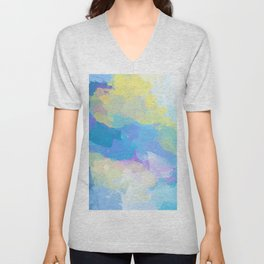 Colorful Abstract - blue, pattern, clouds, sky Unisex V-Neck
