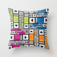 popart Throw Pillows featuring ScrollBar PopArt by Roberlan Borges