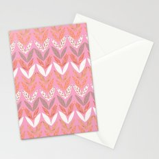 Zigzag Leaves Beautiful In Pink Stationery Cards