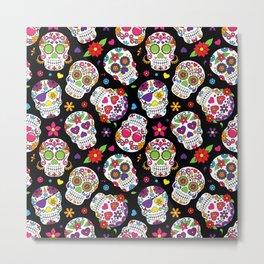 Colorful Sugar Skulls Metal Print