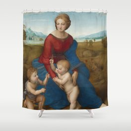 Madonna in the Meadow by Raphael Shower Curtain