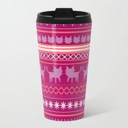 Ugly Christmas Cat Sweater Travel Mug