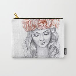 Girl in a pink wreath Carry-All Pouch