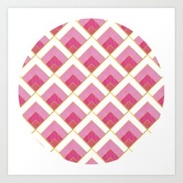 Pink and Gold Diamond Art Deco Pattern Art Print