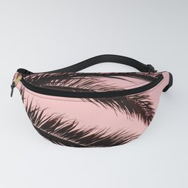Pink Tropical Sunrise Sky With Palm Leaves Fanny Pack