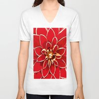 dahlia V-neck T-shirts featuring Dahlia by Saundra Myles