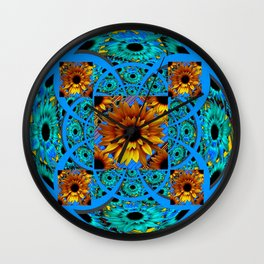 AWESOME BLUE & GOLD SUNFLOWERS  PATTERN ART Wall Clock