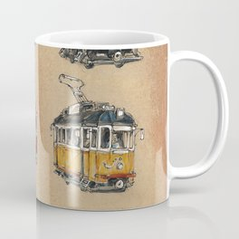 Old vintage yelow trams -nostagic pubic transport Coffee Mug
