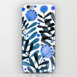 Flowers and foliage - indigo and purple iPhone Skin