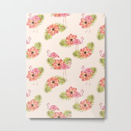 Flamingo and Floral Pattern #society6 Metal Print