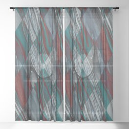 Geometric Abstract - Modern Abstract - Geometric Pattern - Pattern Design - Blue, Grey - Wood Grains Sheer Curtain