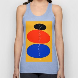 Zen minimal abstract art yellow blue red black Unisex Tank Top